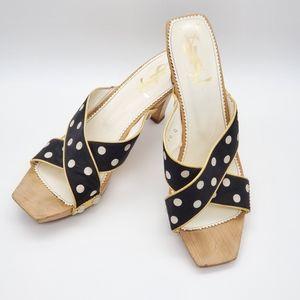 YSL wood sandals polkadots